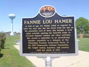 Mississippi Freedom Trail marker for Fannie Lou Hamer, Ruleville, Mississippi.