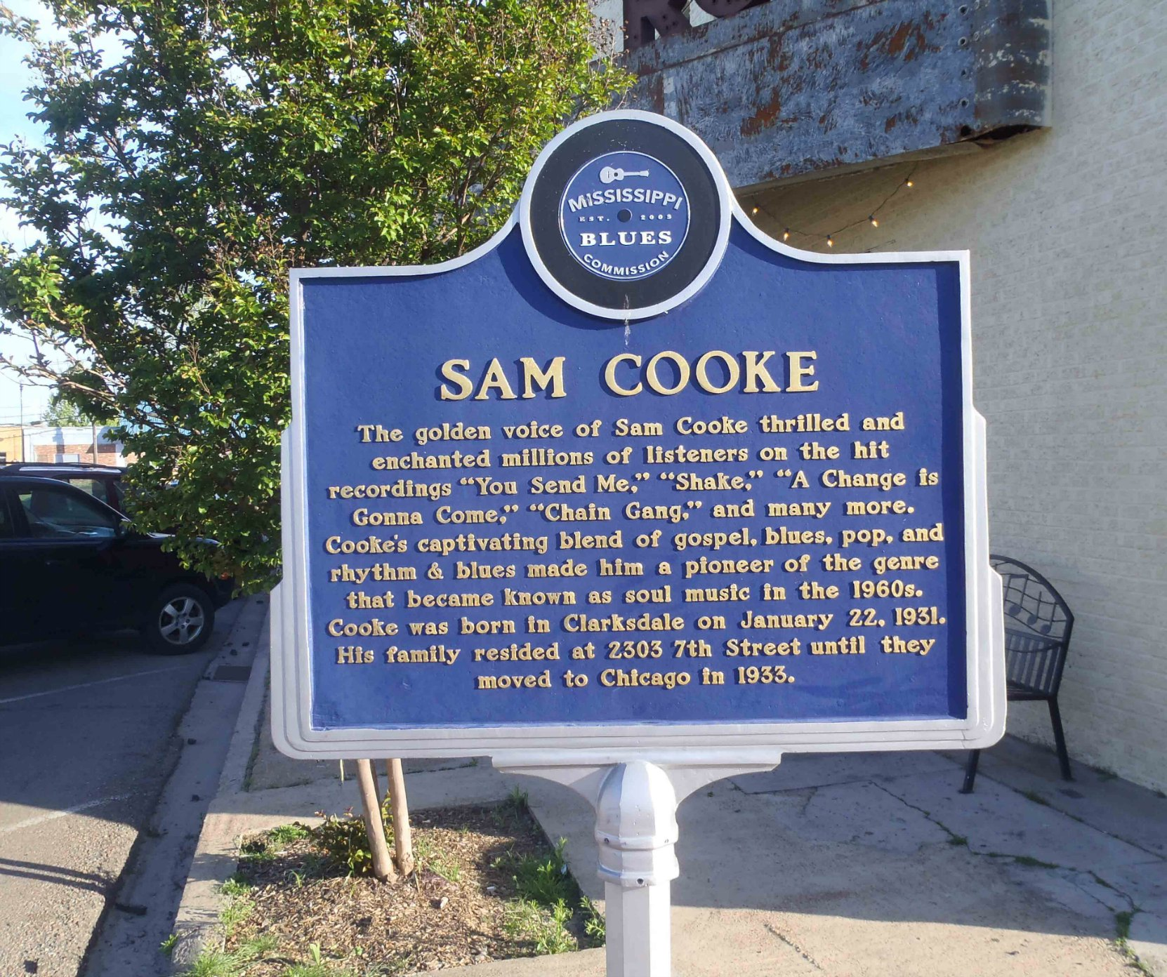 The Mississippi Blues Trail marker for Sam Cooke, Clarksdale, Mississippi