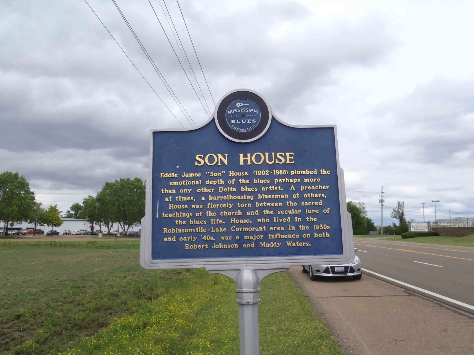 Mississippi Blues Trail marker for Son House, Lake Cormorant, Tunica County, Mississippi