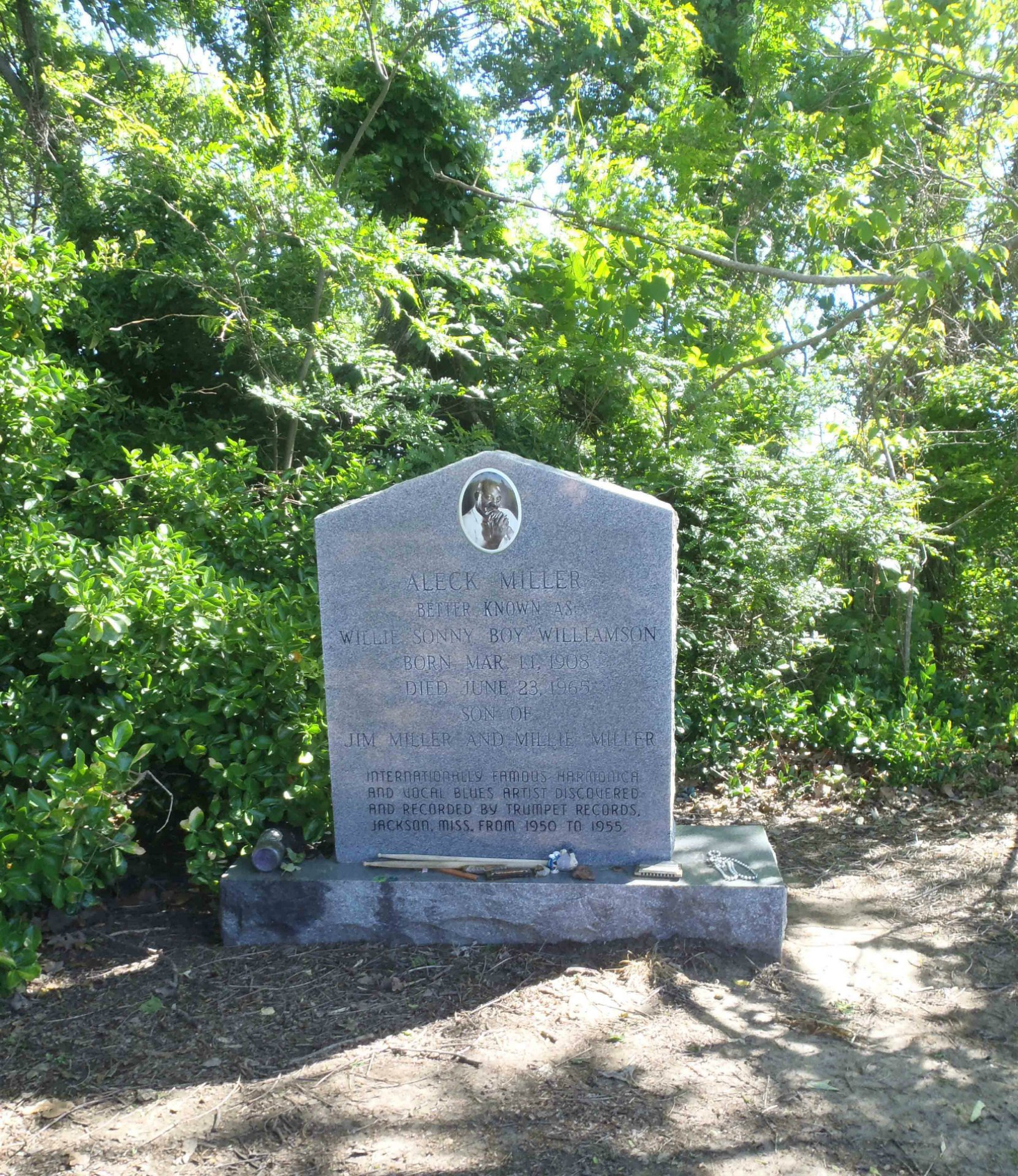 Sonny Boy Williamson grave near Tutwiler, Mississippi. The grave stone was placed by Lillian McMurray, whose Trumpet Records label made the first Sonny Boy Williamson recordings.