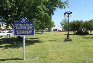 Mississippi Blues Trail marker for the Staple Singers, Drew, Mississippi
