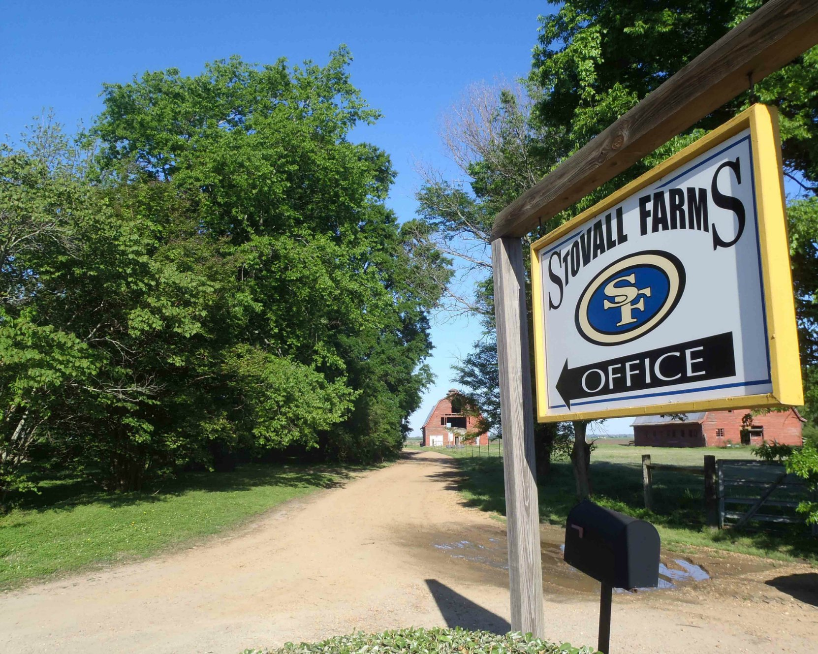 Stovall Farms entrance, near the Muddy Waters House site.
