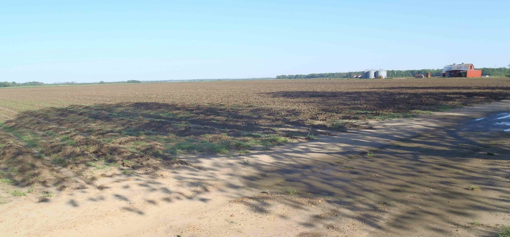 View of the Stovall farms fields from the Muddy Waters House site. This is typical of the geography of Coahoma County around Clarksdale, Mississippi.