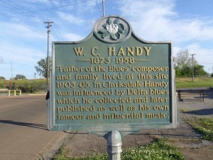 Mississippi Department of Archives & History marker for W.C. Handy, outside Wade Walton's Barber Shop, Clarksdale, Mississippi.