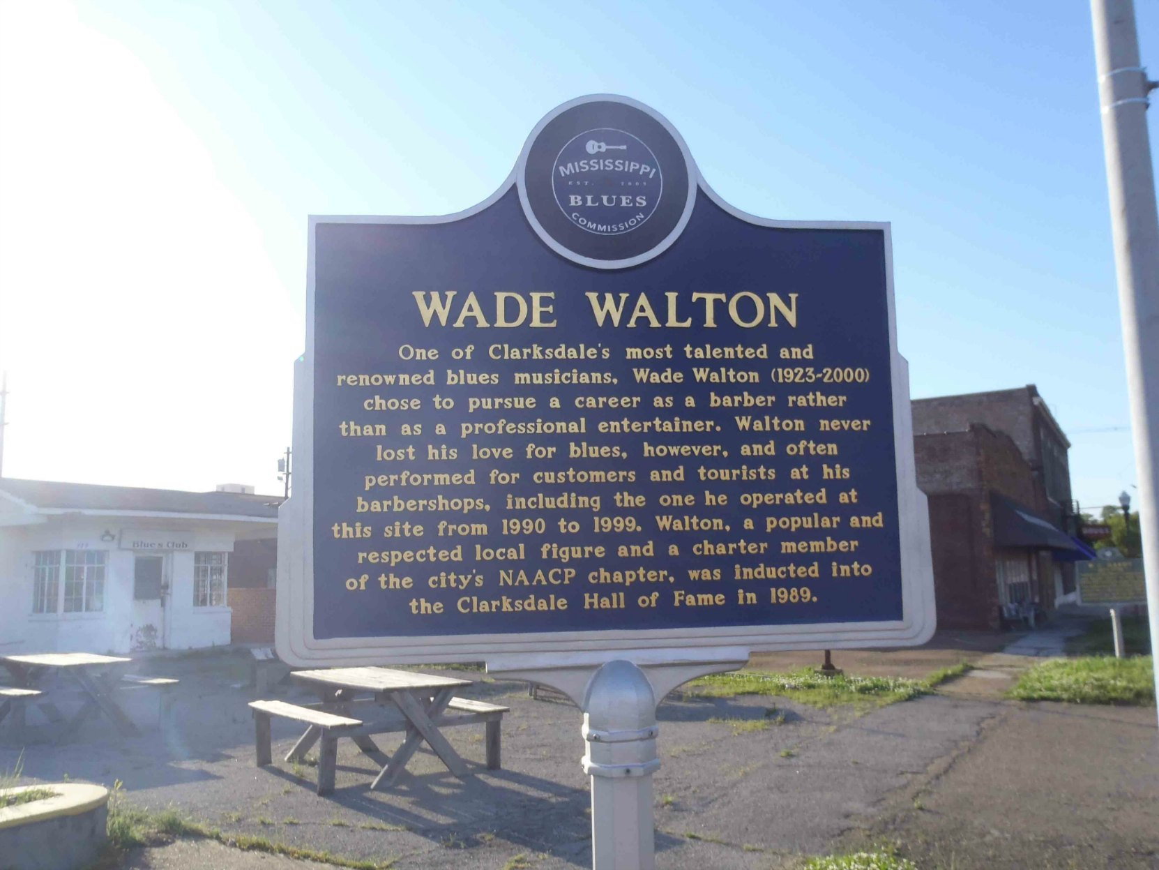Mississippi Blues Trail marker for Wade Walton, Clarksdale, Mississippi.