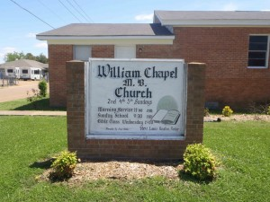 Information sign for William Chapel Missionary Baptist Church, Ruleville, Mississippi.