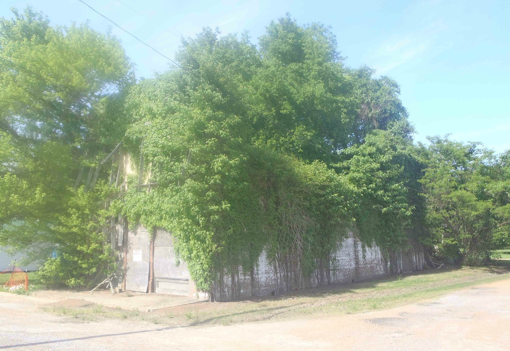 The ruins of Bryant's Grocery, Money, Leflore County, Mississippi. This was once the front and side of the building.