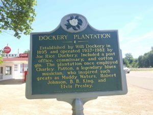 The Mississippi Department of Archives & History marker for Dockery Plantation (now Dockery Farms), Highway 8, Sunflower County, Mississippi