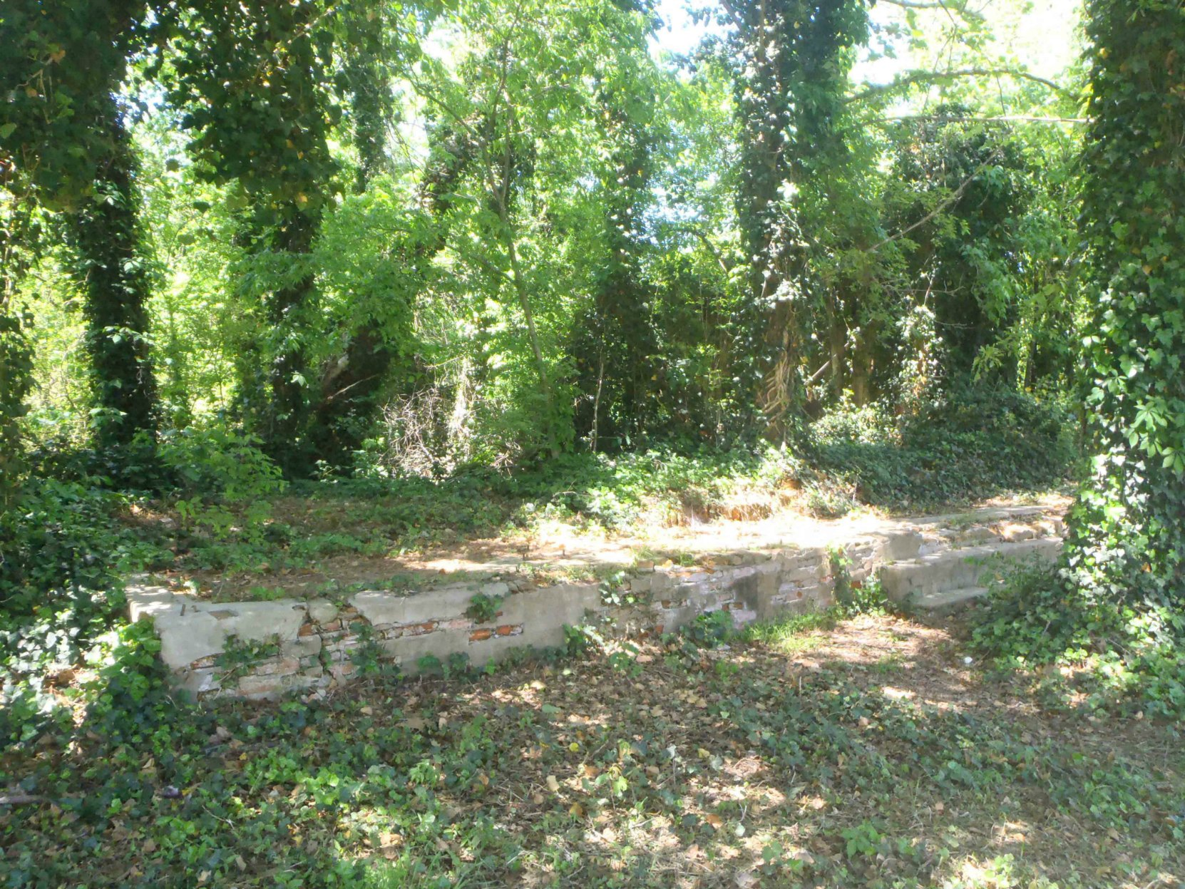 The front foundation of the former Commissary Building, Dockery Farms, Highway 8, Sunflower County, Mississippi. Charley Patton used to play on the front porch of this building.