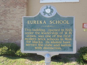 The Mississippi Department of Archives & History marker at the Eureka School, Hattiesburg, Mississippi