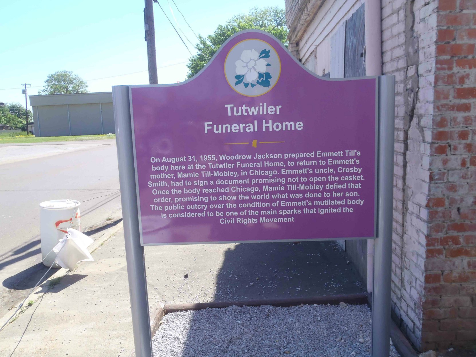 The sign outside the former Tutwiler Funeral Home, where Emmett Till's body was prepared for transportation to Chicago in August 1955.