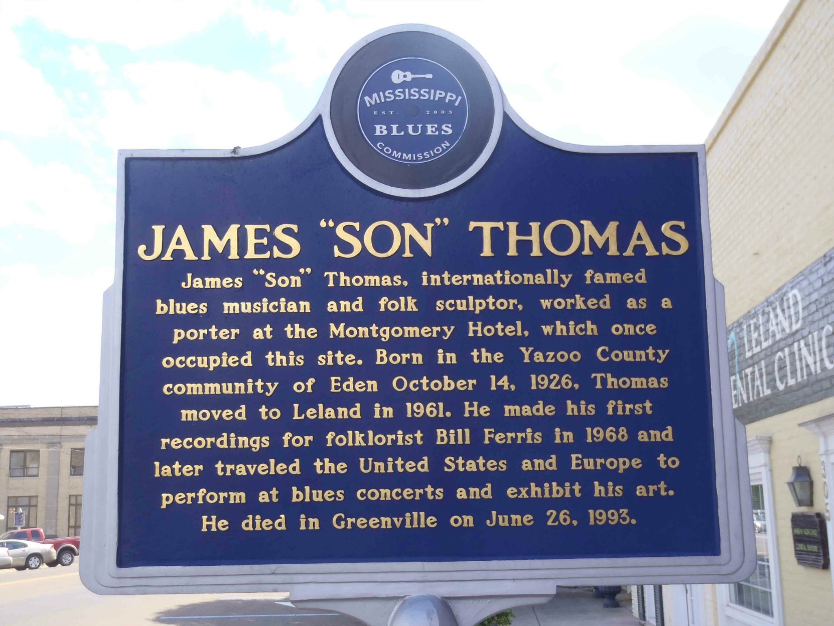 "Mississippi Blues Trail marker for James ""Son"" Thomas, North Broad Street, Leland, Mississippi. There is also a Mississippi Blues Trail marker for Johnny Winter on the opposite side of the street."
