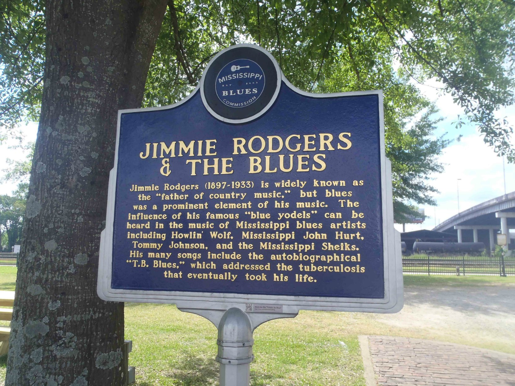 Mississippi Blues Trail marker for Jimmie Rodgers, near the old Rail Depot in Meridian, Mississippi,