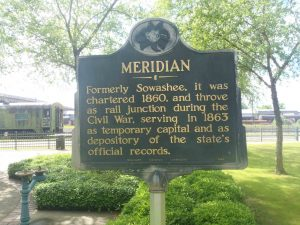 Mississippi Department of Archives & History marker for Meridian, Mississippi, placed near the old Rail Depot.