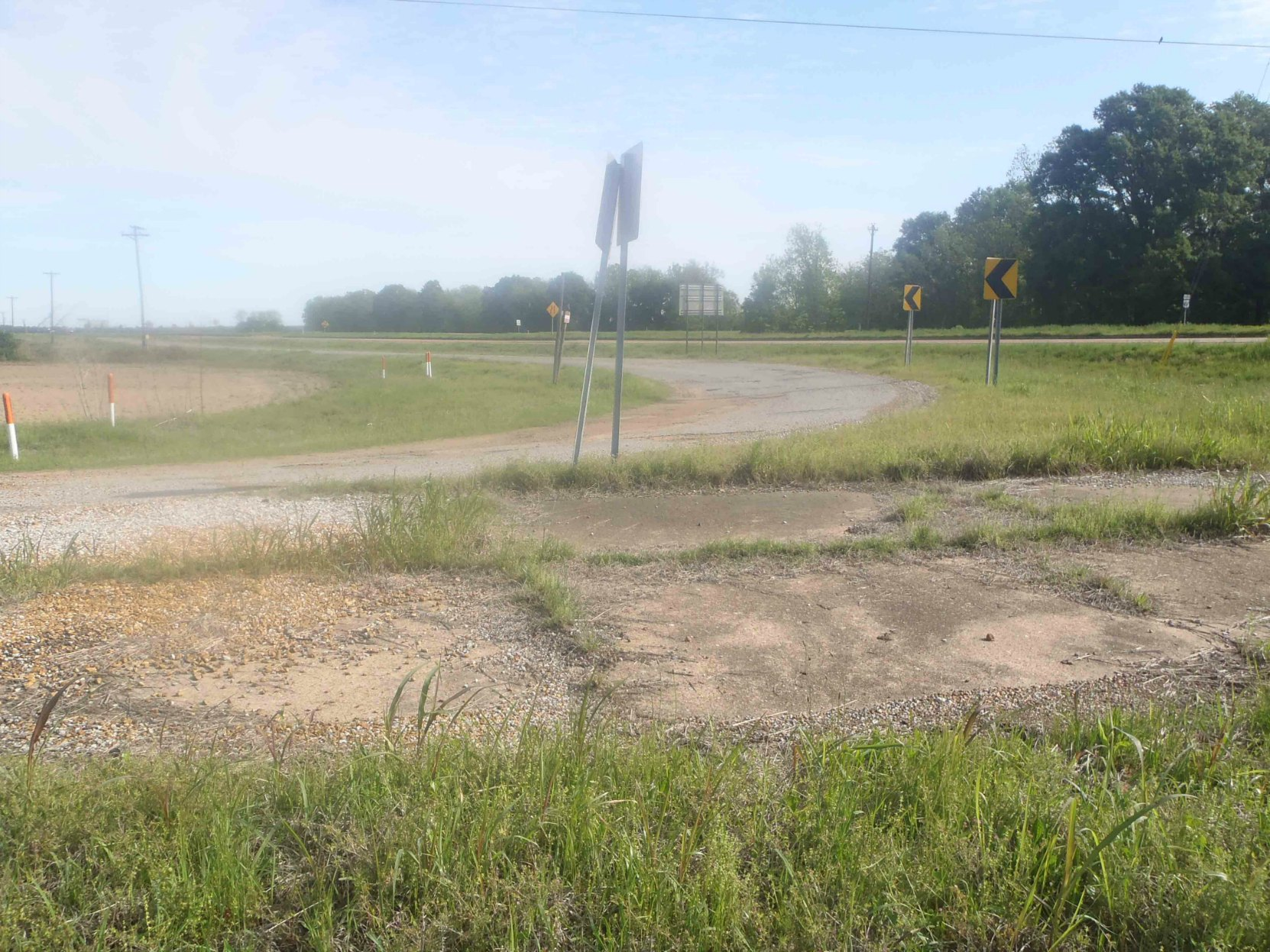 The old road on the west side of the present intersection of Highway 49E and Highway82, Leflore County, Mississippi, looking north east.