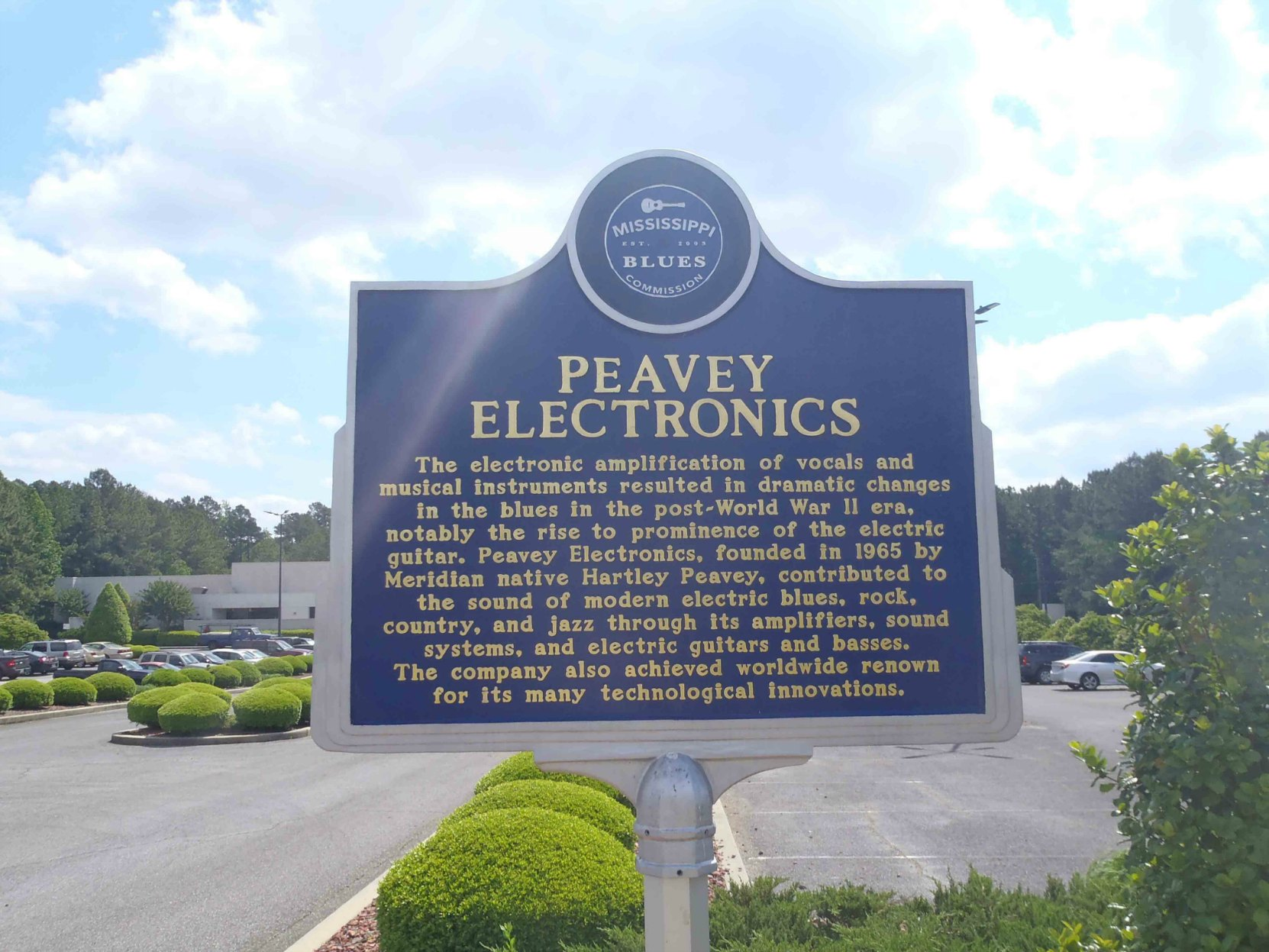 Mississippi Blues Trail marker at Peavey Electronics, Meridian, Mississippi