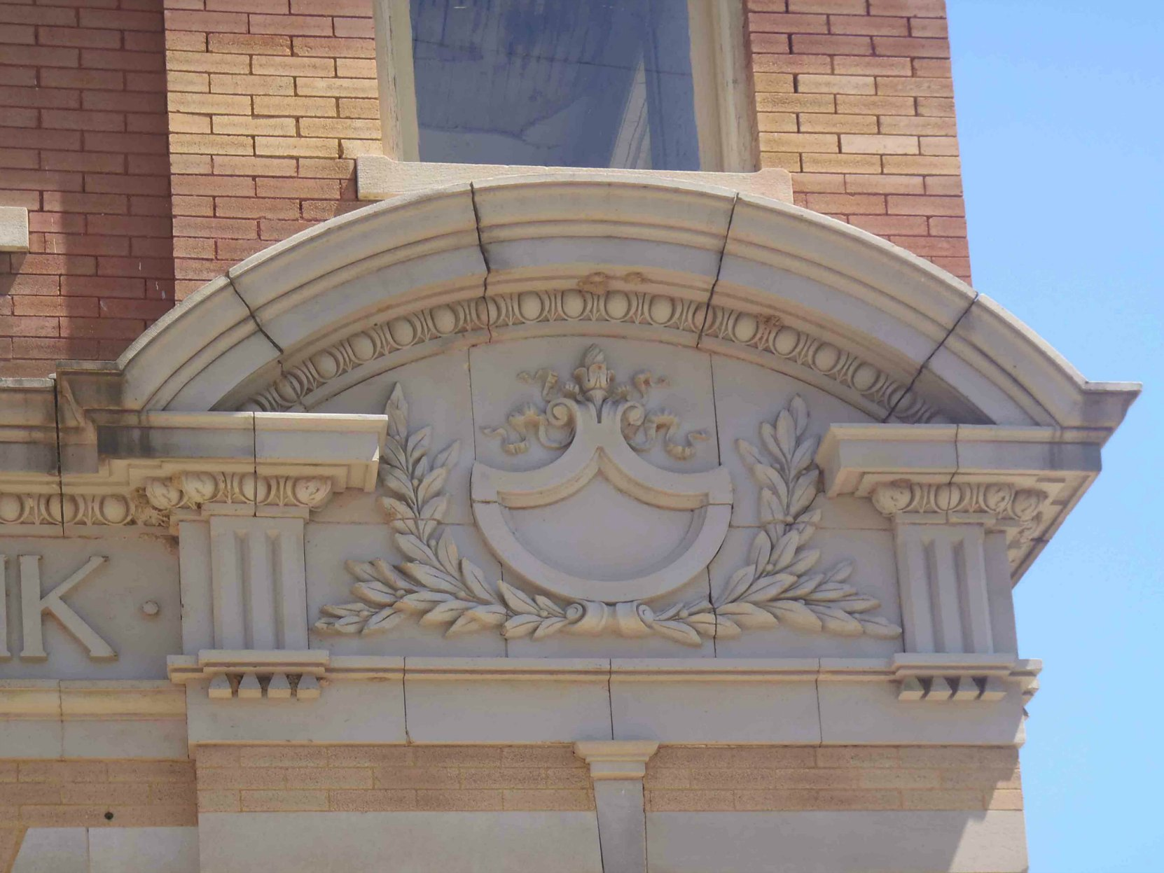Decorative detail on Mississippi National Bank building, built circa 1901. Part of the Bernheimer Complex, Port Gibson, Missisippi