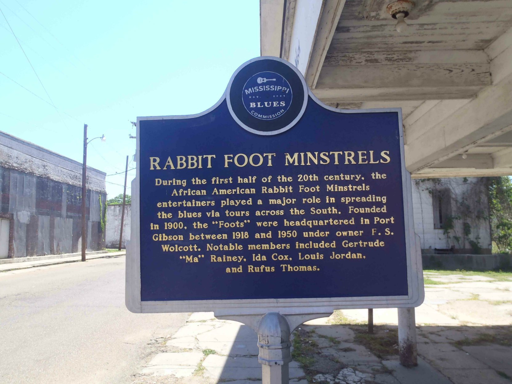 Mississippi Blues Trail marker for the Rabbit Foot Minstrels, Port Gibson, Mississippi
