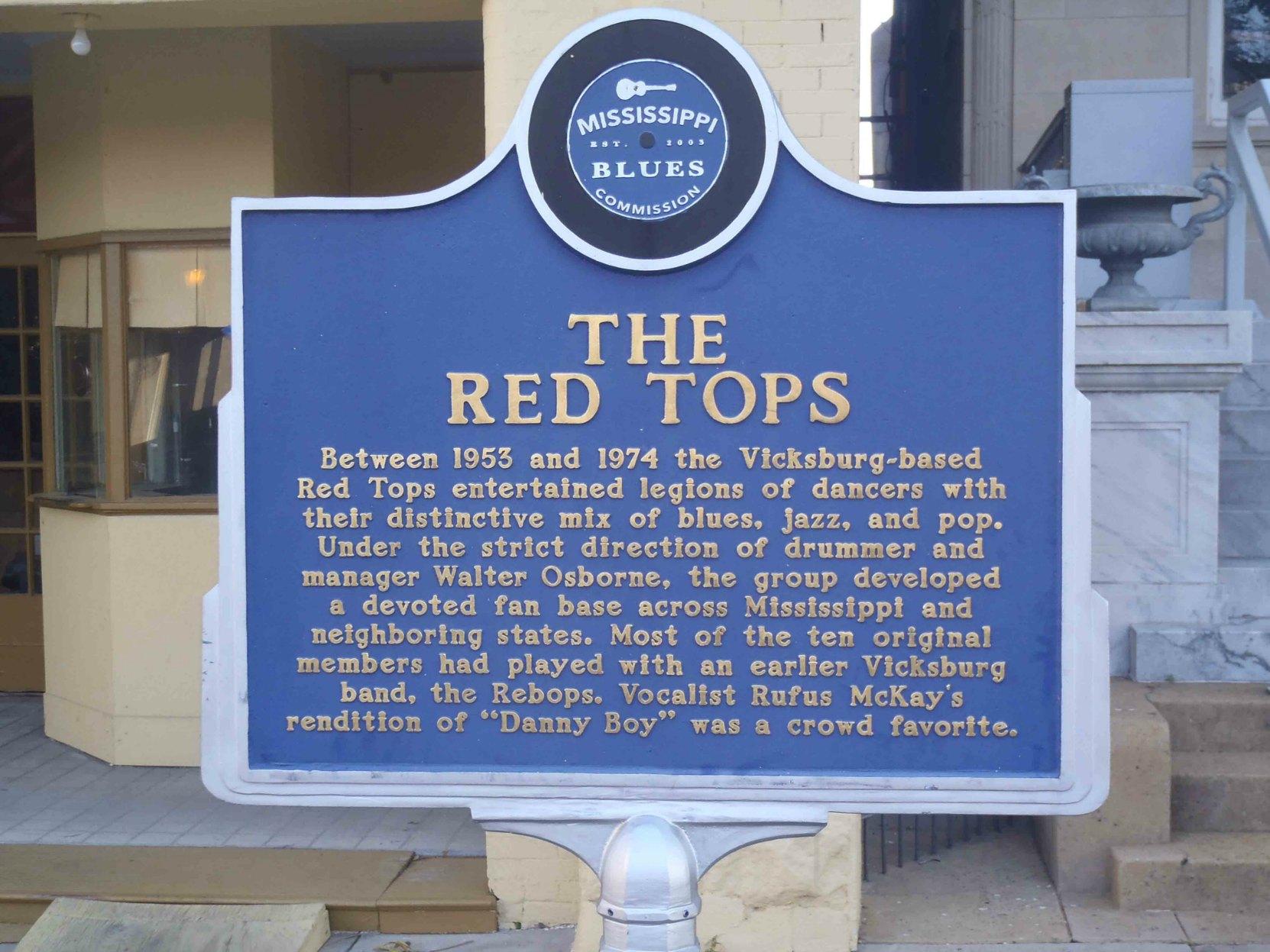 Mississippi Blues Trail marker for The Red Tops, Vicksburg, Mississippi