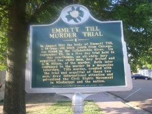 Mississippi Department of Archives & History marker, Emmett Till Murder Trail, outside Tallahatchie County Court House, Sumner, Mississippi