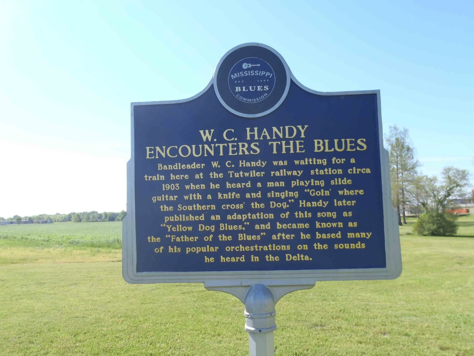 Mississippi Blues Trail marker, W.C. Handy Encounters The Blues, Tutwiler, Mississippi