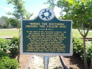 "The Mississippi Department of Archives & History marker ""Where The Southern Crosses The Dog"", Moorhead, Mississippi"