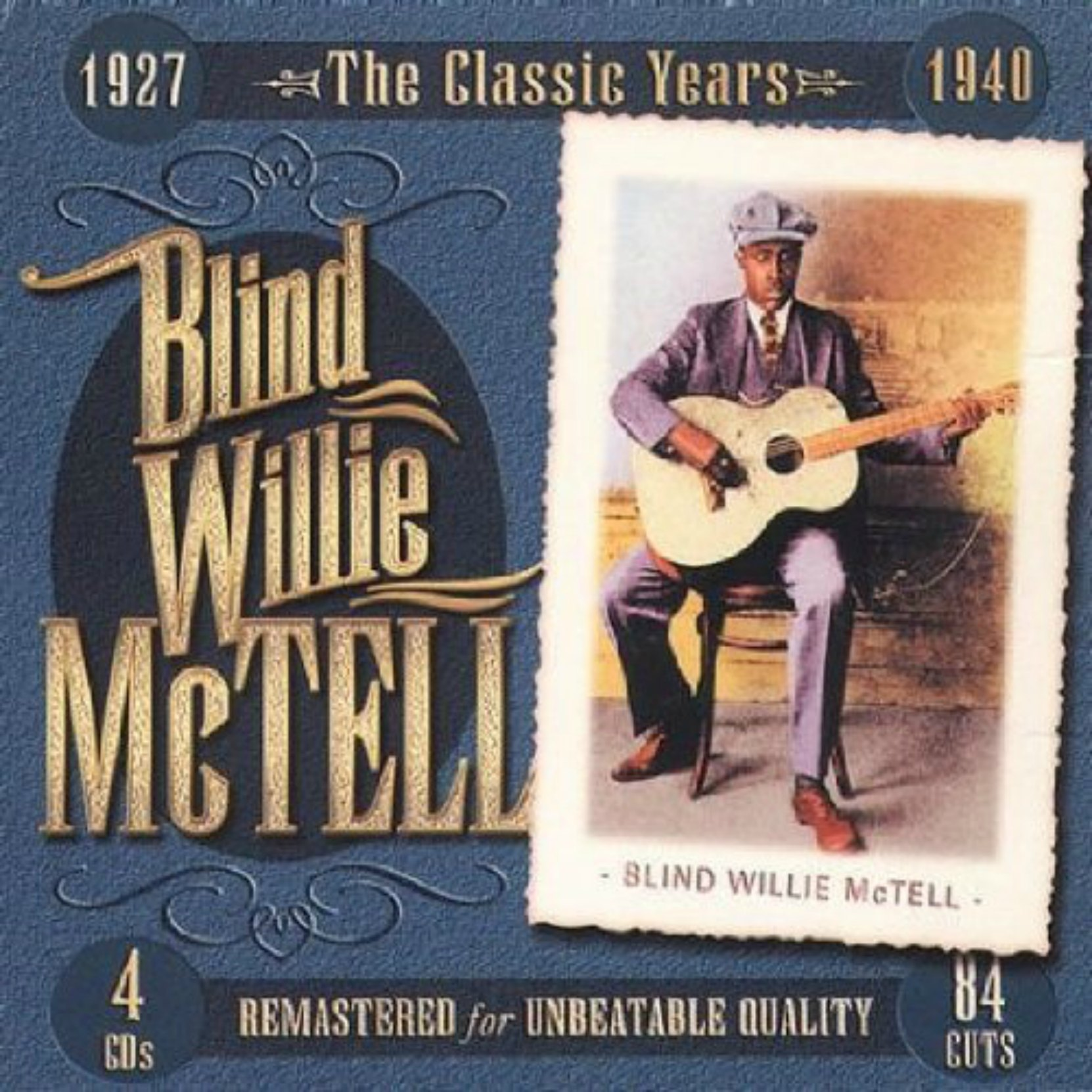 CD cover, Blind Willie McTell-The Classic Years, 1927-1940, a 4 CD, 84 track collection on JSP Records