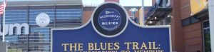 Our web header image for the Mississippi Blues Trail showing the Mississippi Blues trail logo on marker in Memphis, Tennessee