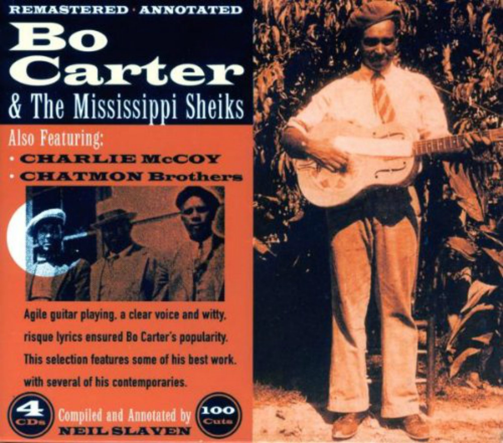 CD cover, Bo Carter & The Mississippi Sheiks, a 4 CD, 100 track collection released on JSP Records.