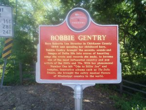 The Mississippi Country Music Trail marker for Bobbie gentry, Grand Avenue, Greenwood, Mississippi