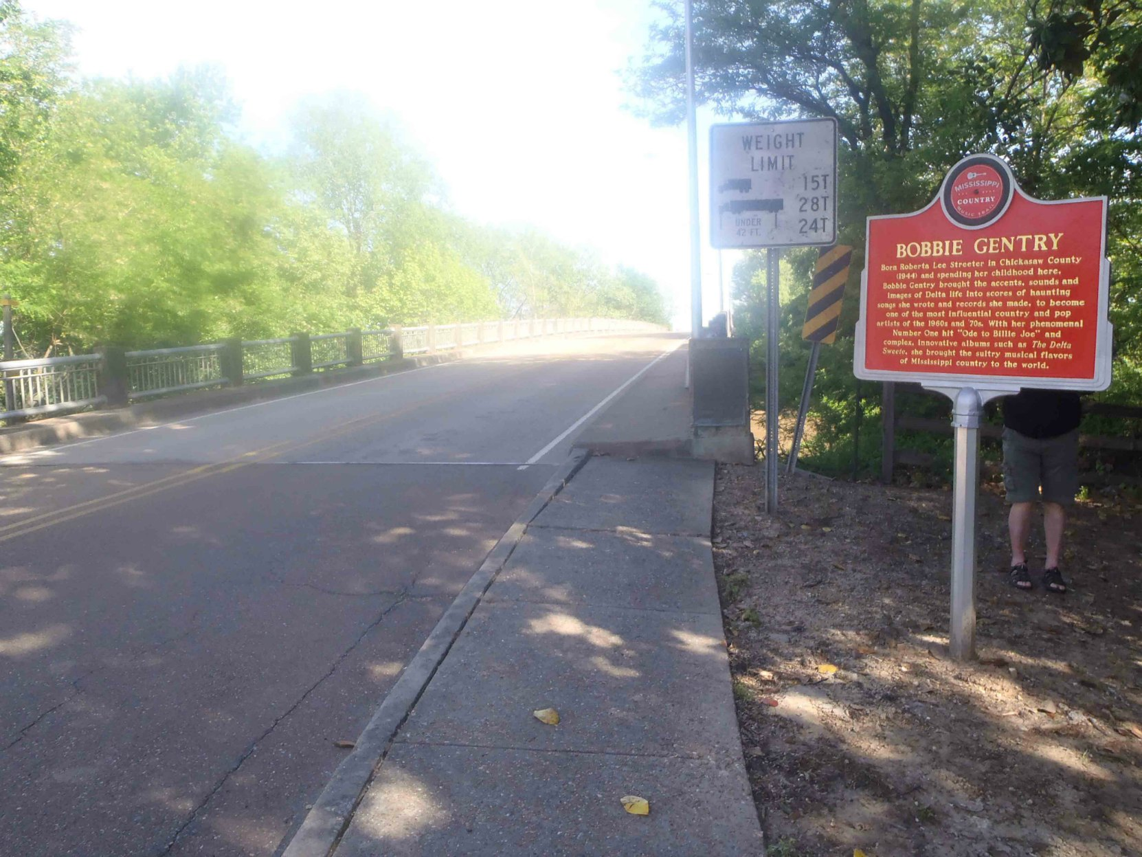 The Mississippi Country Music Trail marker for Bobbie Gentry, is at the entrance to a bridge over the Tallahatchie River on Grand Avenue, Greenwood, Mississippi