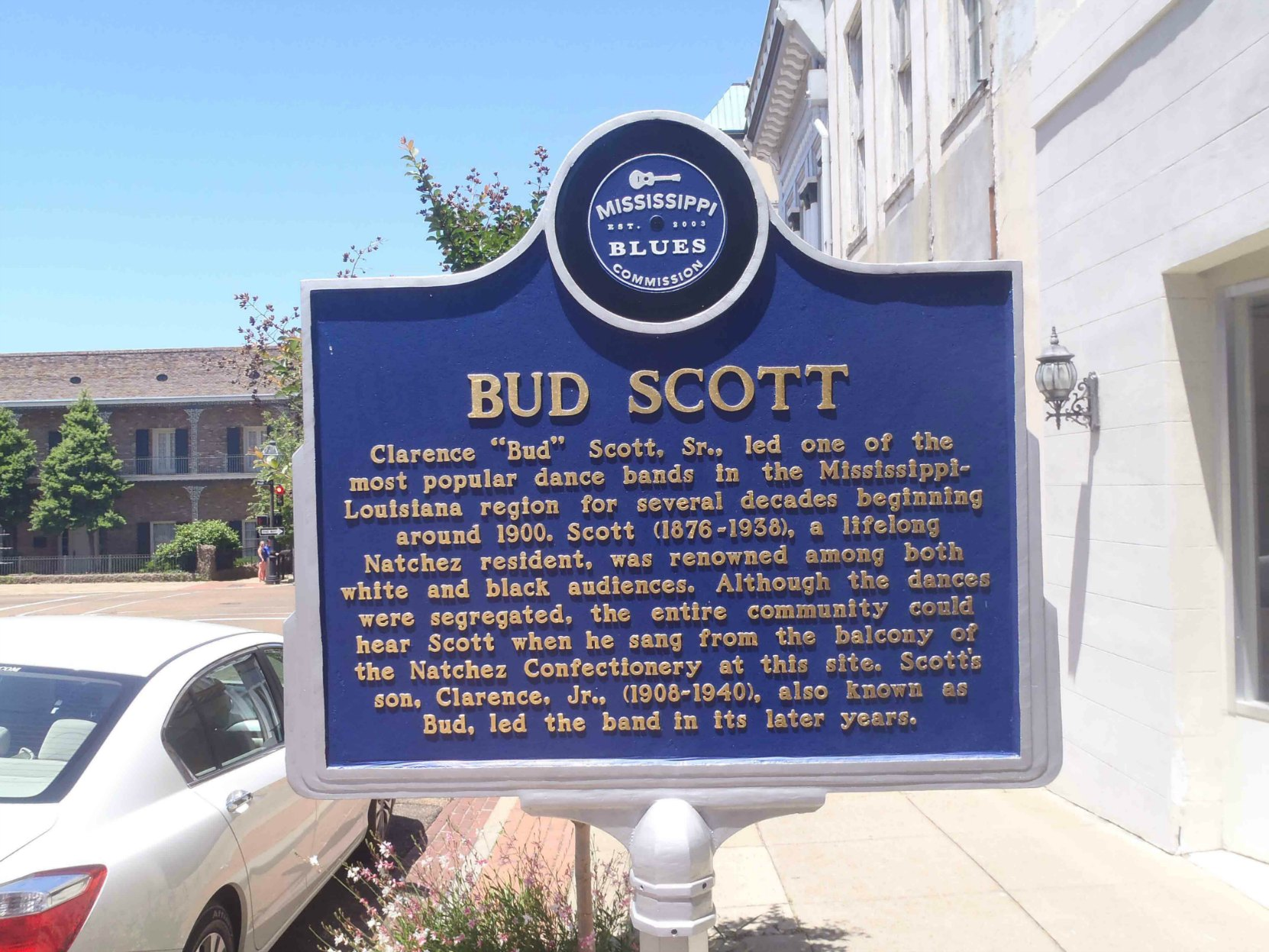 The Mississippi Blues Trail marker commemorating Bud Scott, Natchez, Mississippi