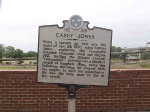 Tennessee Historical Commission marker for Casey Jones, Memphis, Tennessee