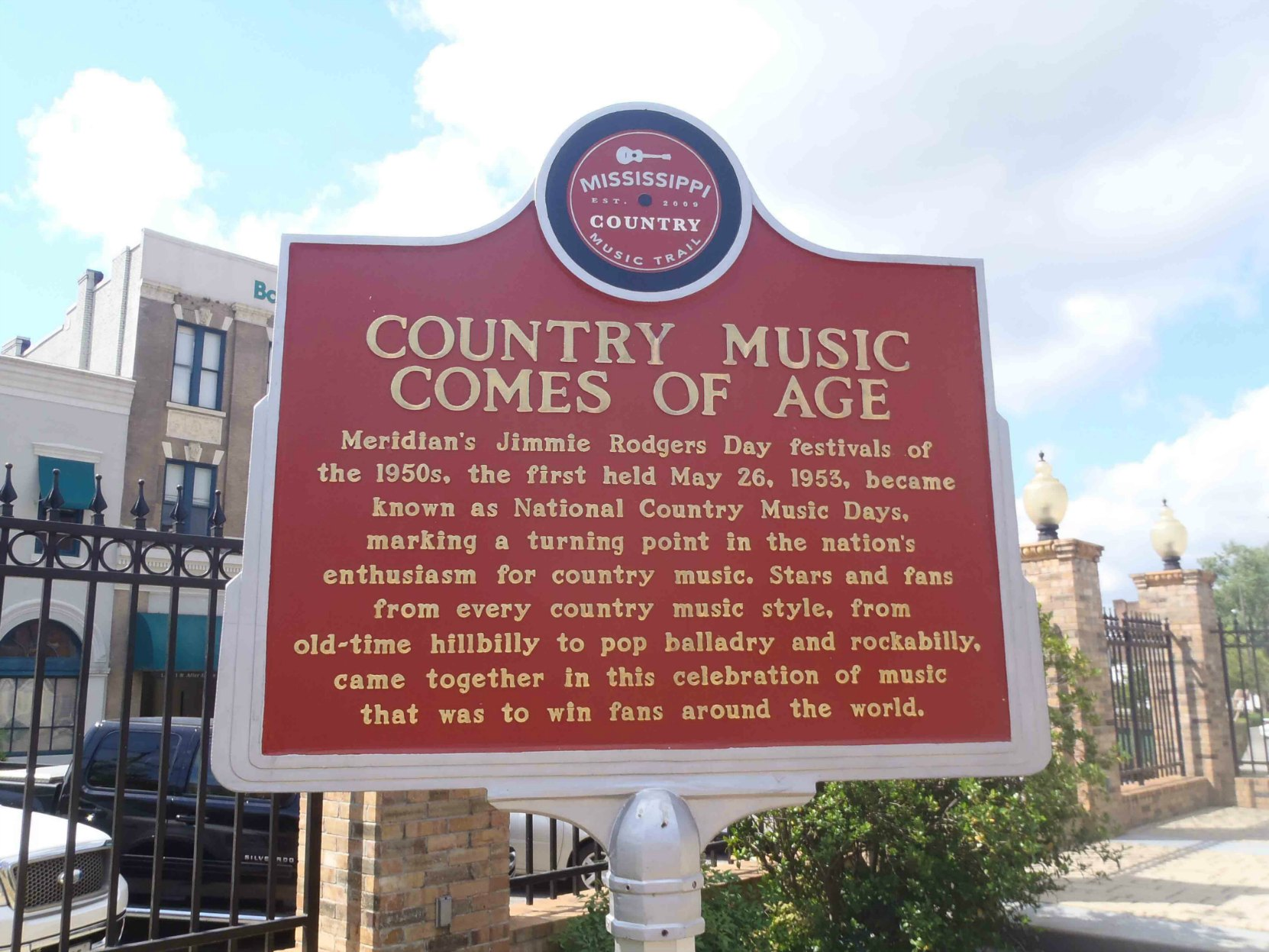 Mississippi Country Music Trail marker for Country Music Comes Of Age, Meridian, Mississippi
