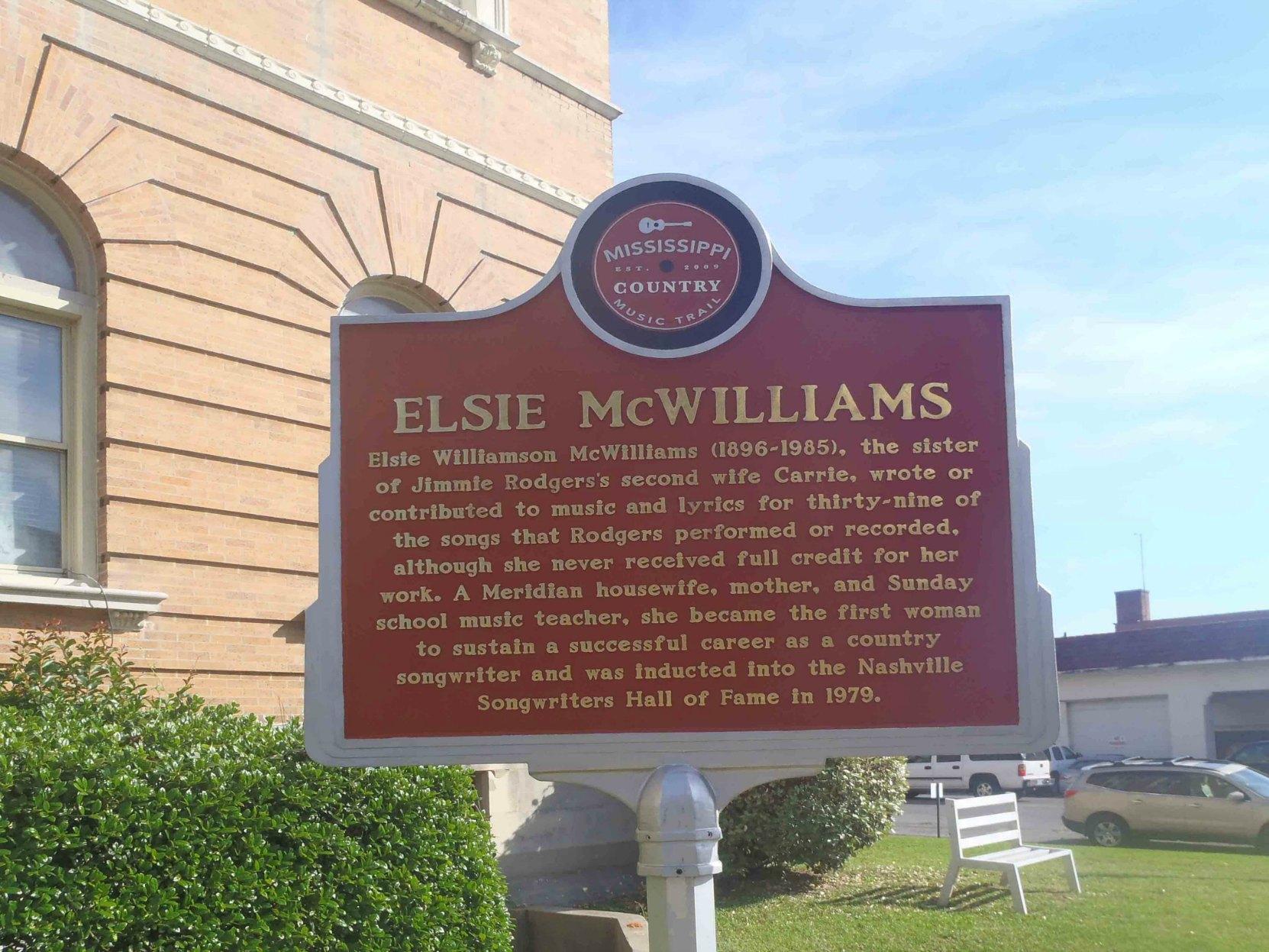 Mississippi Country Music Trail marker commemorating Elsie McWilliams, Meridian, Mississippi