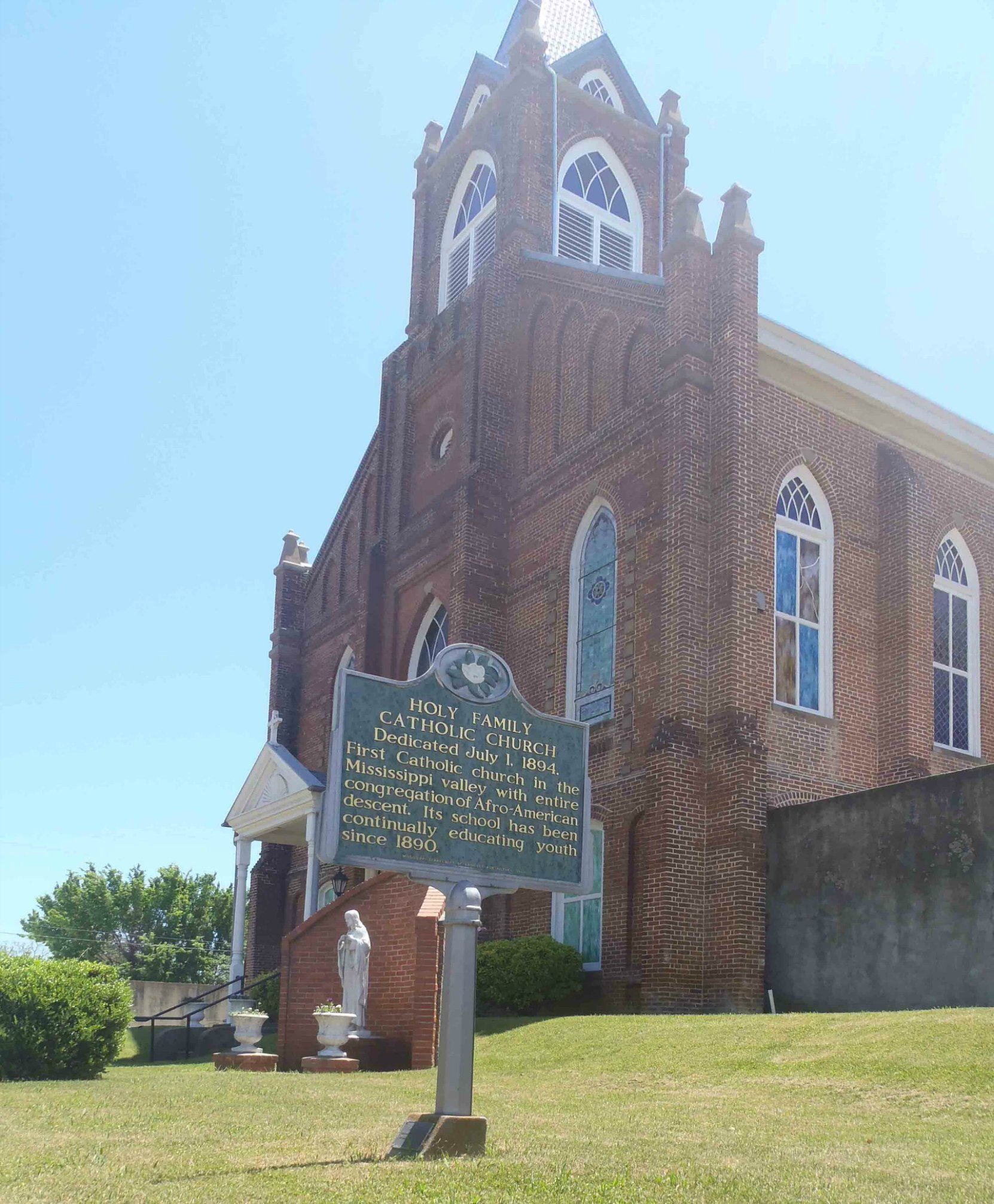 The Mississippi Department of Archives & History marker outside Holy Family Catholic Church, Natchez, Mississippi