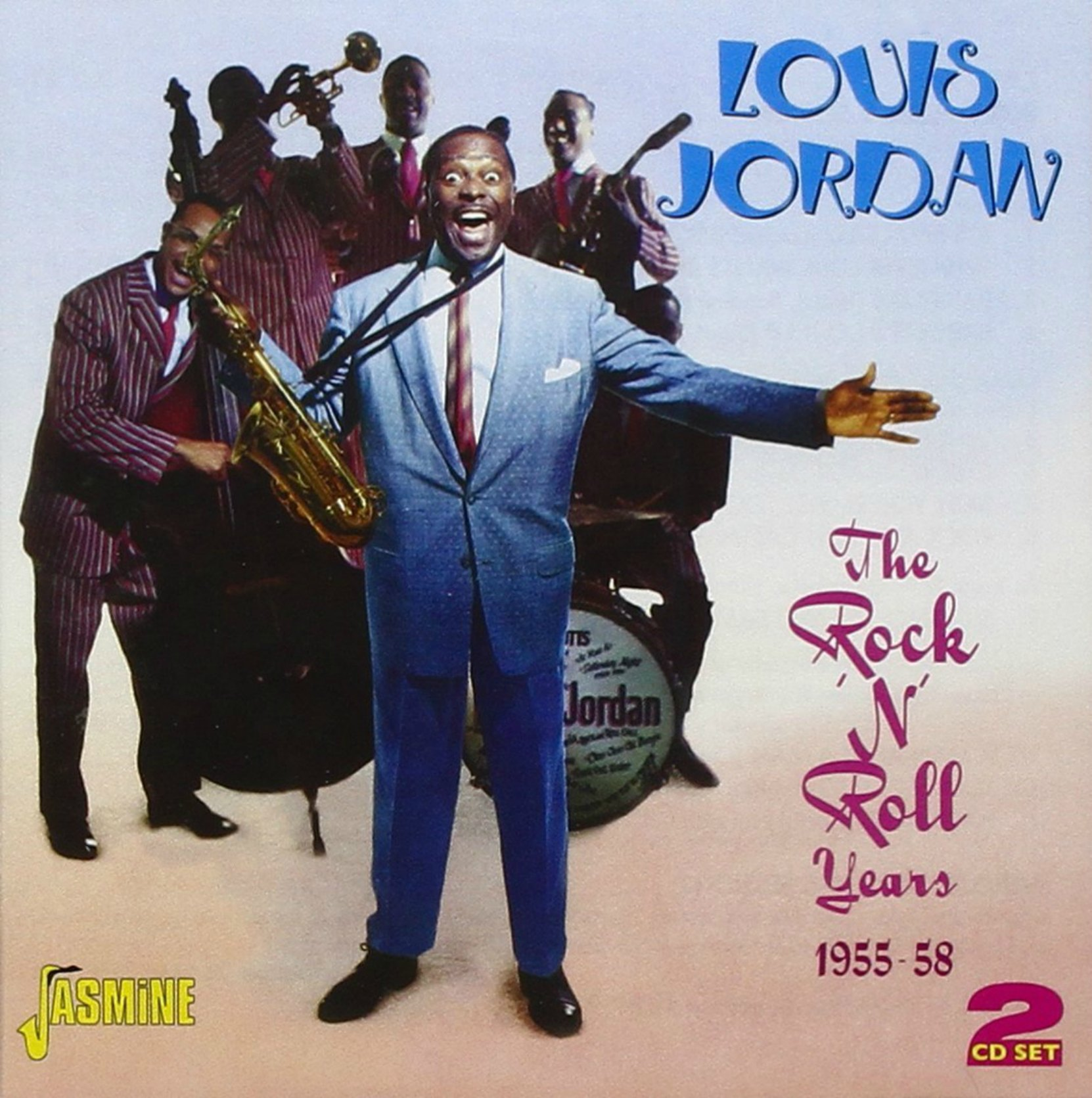 "CD cover, Louis Jordan-The Rock n"" Roll Years 1955-58 , a 2 CD set on Jasmine Records"