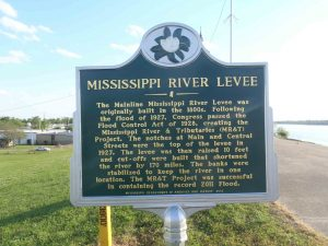 Mississippi Department of Archives & History marker on the levee at Greenville, Mississippi.