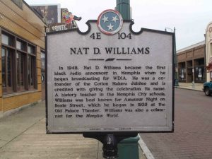 Tennessee Historical Commission marker for Nat D. Williams, Beale Street, Memphis, Tennessee