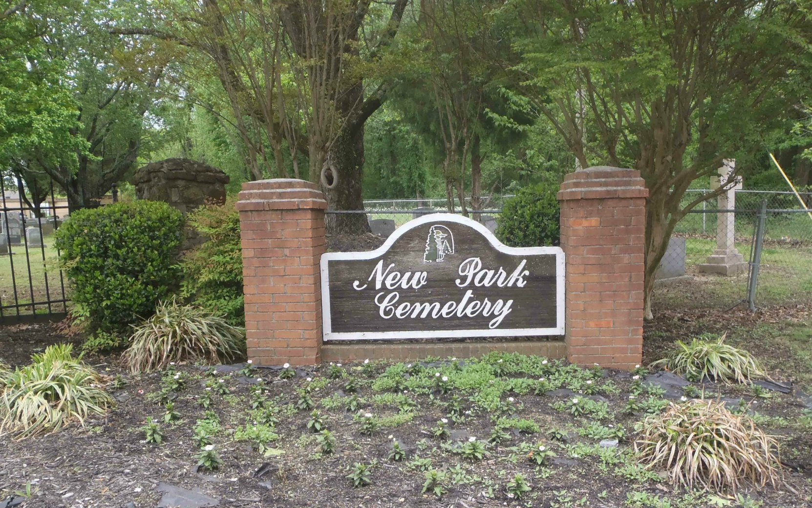 The sign at the entrance gate of New Park Cemetery, Memphis, Tennessee