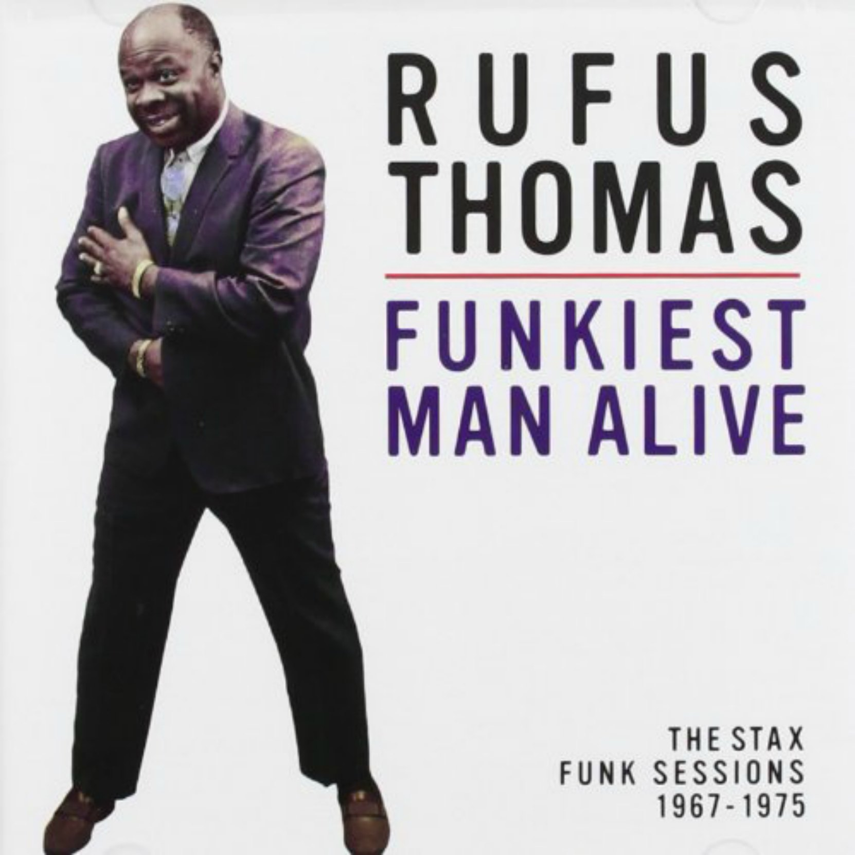 CD cover, Funkiest Man Alive: The Stax Funk Sessions 1967-1975 by Rufus Thomas. On Fantasy Records.