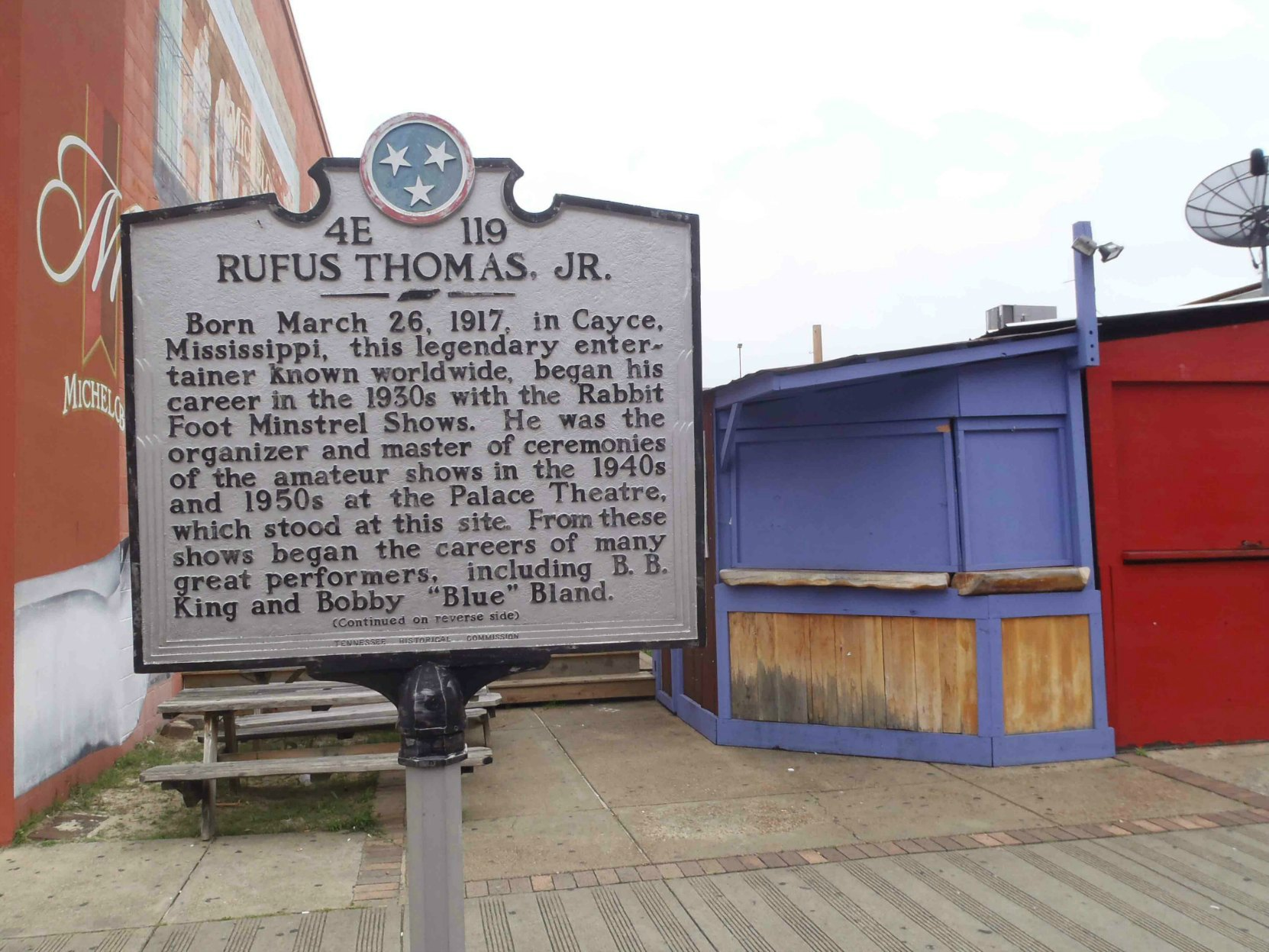 Tennessee Historical Commission marker for Rufus Thomas Jr., Beale Street, Memphis, Tennessee