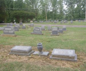 The grave of Rufus Thomas Jr. (1917-2001) and his wife C. Lorene Thomas (1919-2000), New Park Cemetery, Memphis, Tennessee