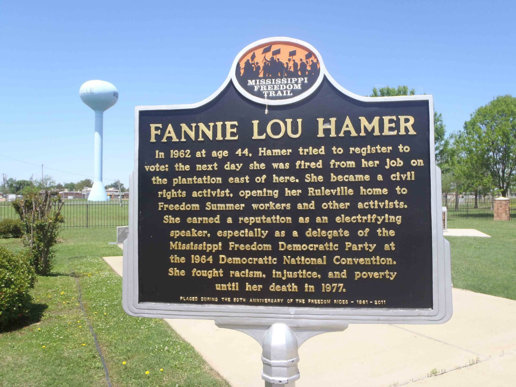 Mississippi Freedom Trail marker commemorating Fannie Lou Hamer, Ruleville, Mississippi.