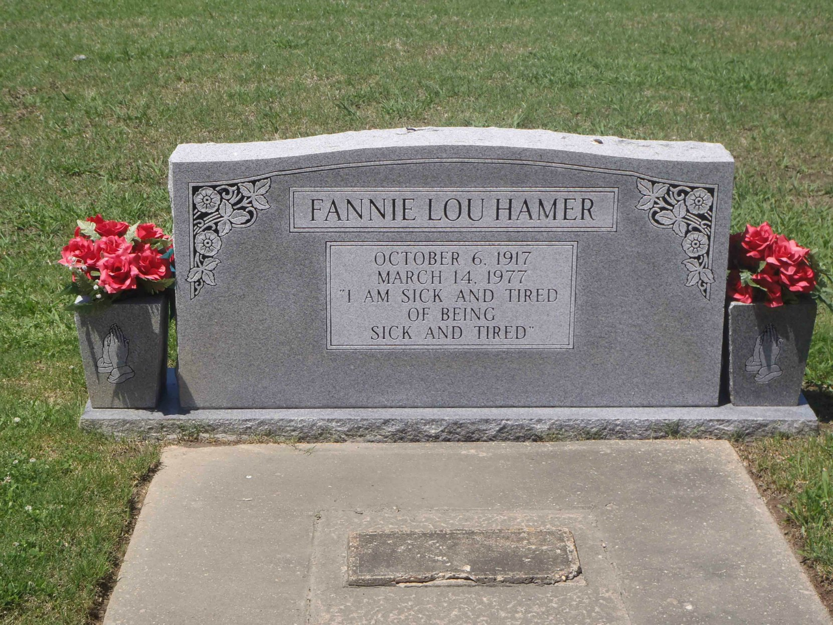 Headstone on Fanny Lou Hamer's grave, Fanny Lou Hamer Memorial Garden, Ruleville, Mississippi