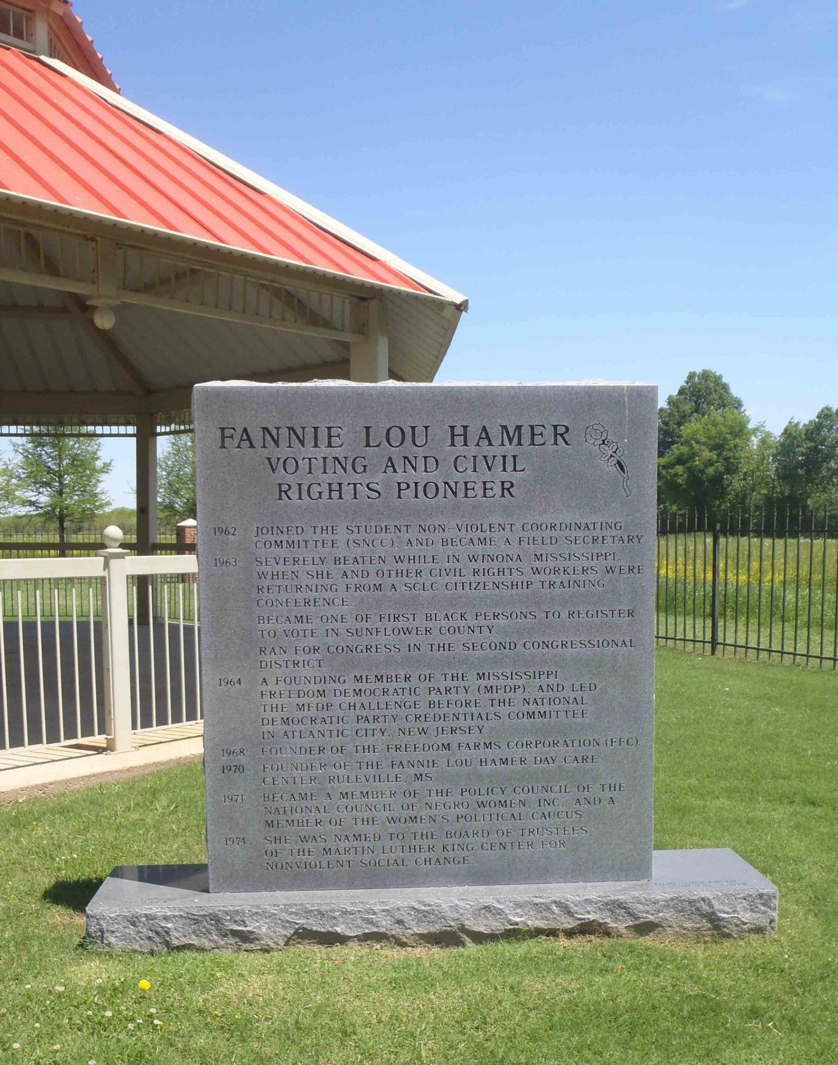 Fanny Lou Hamer commemorative plaque, Fanny Lou Hamer Memorial Garden, Ruleville, Mississippi