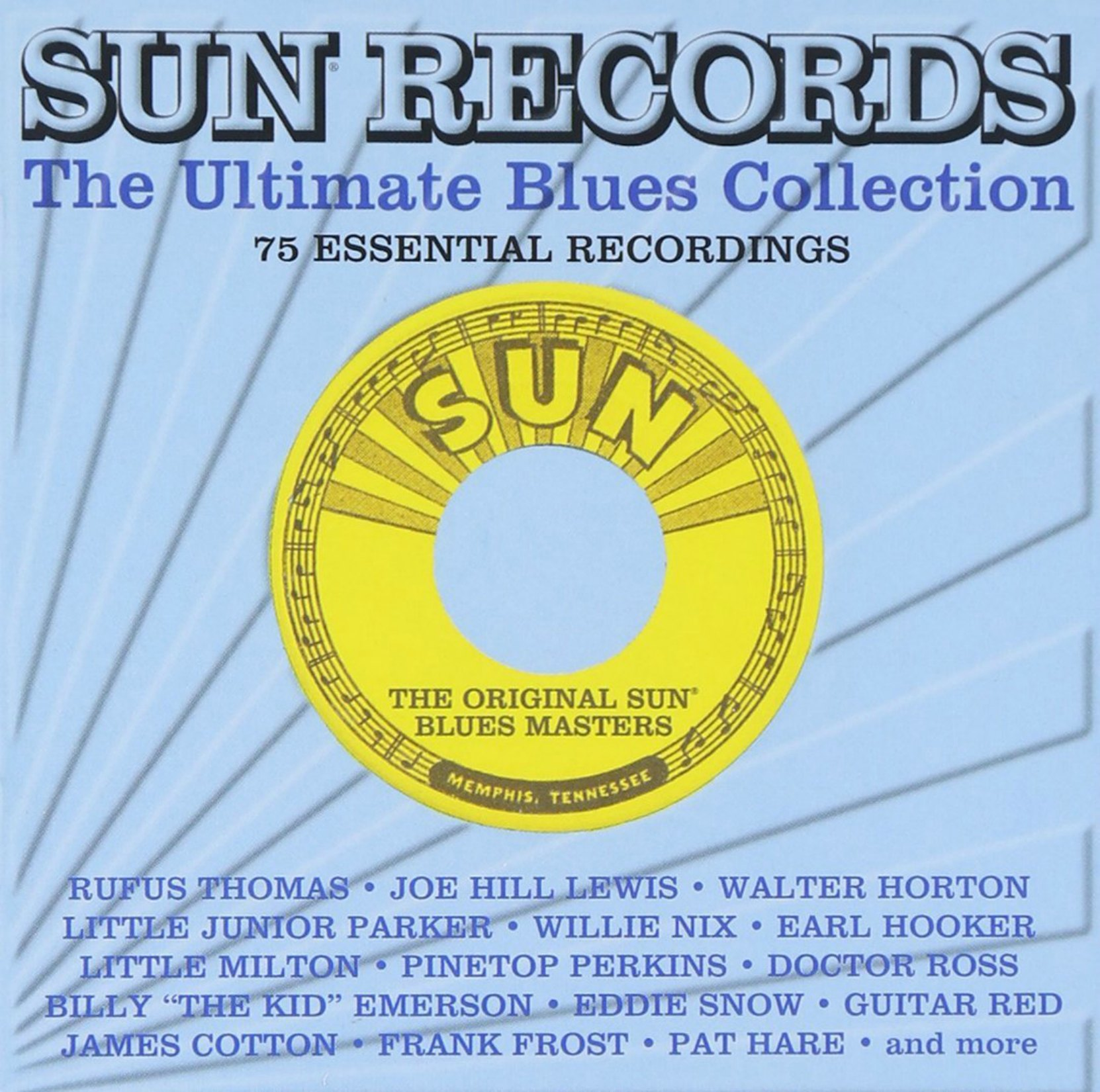 CD cover, Sun Records - The Ultimate Blues Collection, a 3 CD set of Sun Records blues recordings.