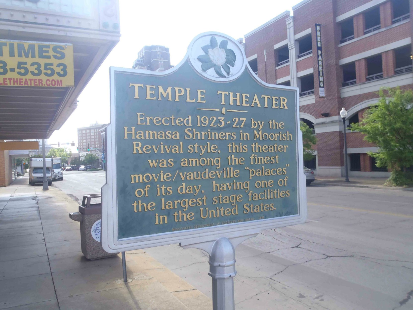 Mississippi Department of Archives & History marker outside the Temple Theater, Meridian, Mississippi.