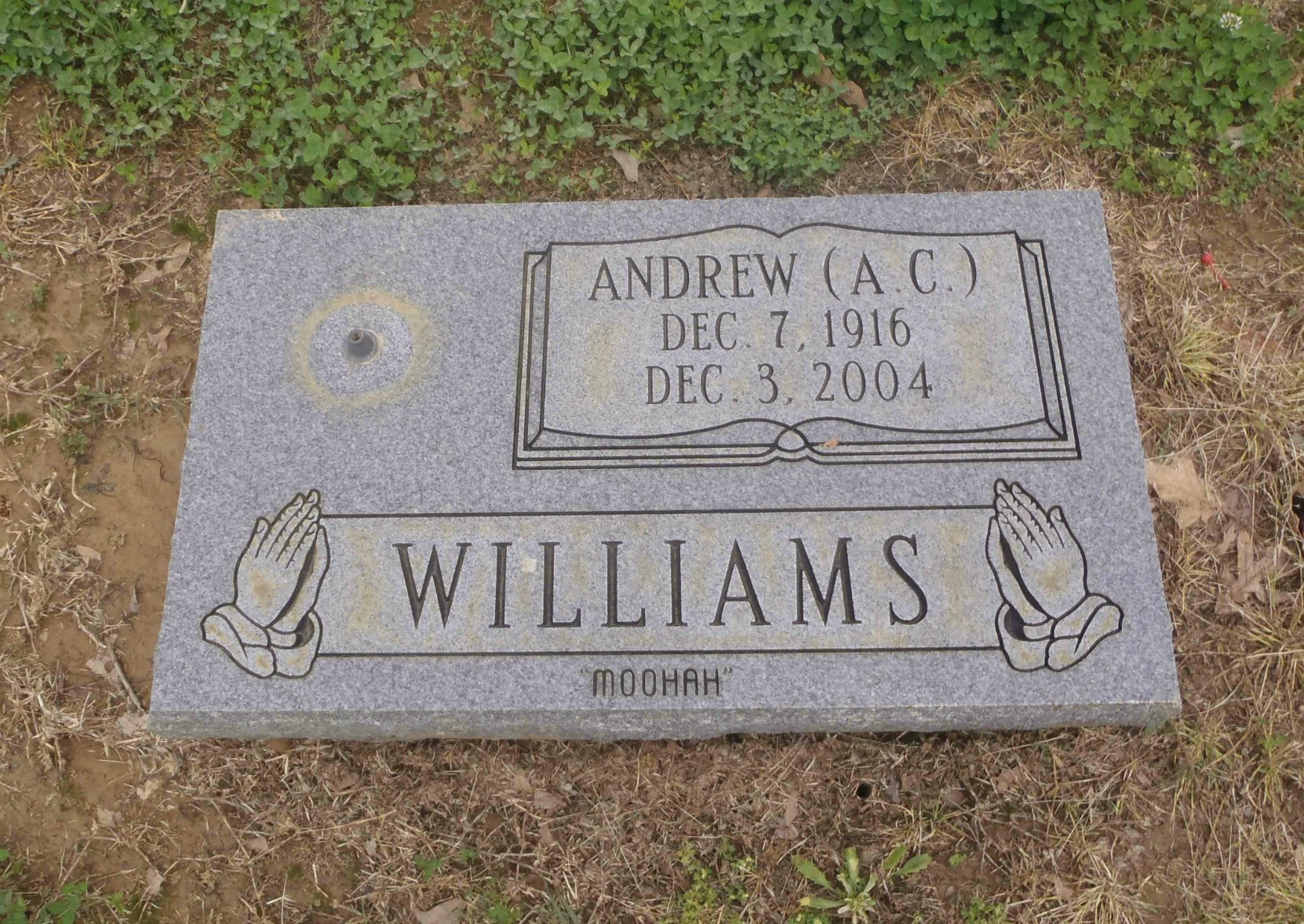 "Andrew (A.C) ""Moohah"" Williams grave, New Park cemetery, Memphis, Tennessee"