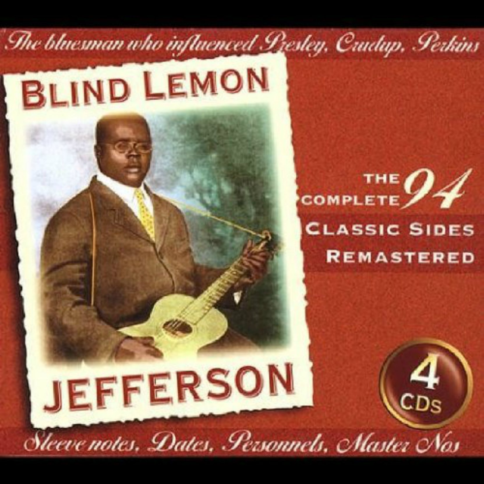 CD cover, Blind Lemon Jefferson - The Complete 94 Classic Sides, a 4 CD box set on JSP Records